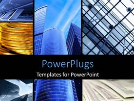 PowerPlugs: PowerPoint template with collage of large architectural structures with skyscrapers rising to the sky