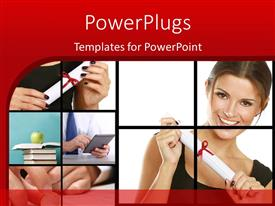 PowerPoint template displaying collage of learning depictions with happy young lady holding certificate