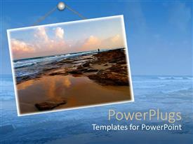 PowerPlugs: PowerPoint template with collage of man standing on beautiful sea shore on blue background