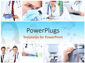 PowerPlugs: PowerPoint template with collage of Medical doctors taking note with stethoscope and microscope