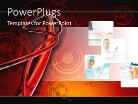 PowerPoint template displaying collage of medical doctors with transparent blood vessels and arteries