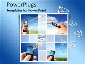 PowerPlugs: PowerPoint template with collage of mobile phones raised high receiving messages