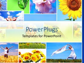 PowerPlugs: PowerPoint template with collage of nature and happy people depictions, colorful flowers, sunflowers, happy women on field, drop of water on leaf