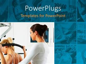 PowerPlugs: PowerPoint template with collage of nine small depictions and one large depiction of fitness and exercising