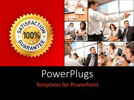 PowerPlugs: PowerPoint template with collage of office workers with 100% satisfaction guarantee label