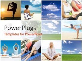 PowerPlugs: PowerPoint template with collage of people doing yoga and blue cloudy sky
