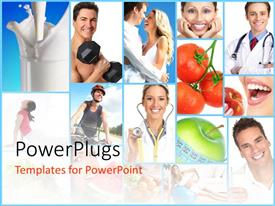 PowerPoint template displaying collage on people health concept with different nutrition food as fruits, milk, fitness equpments and fitness doctor