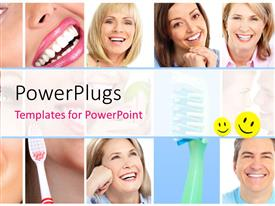 PowerPlugs: PowerPoint template with collage of people with whitened teeth through proper dental care