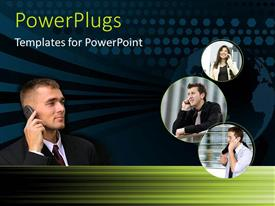PowerPlugs: PowerPoint template with collage of persons making phone calls with cell phone