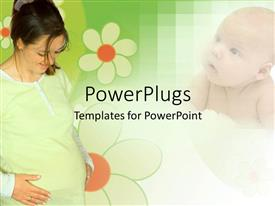 PowerPoint template displaying collage of a preganant woman and a baby with flowers
