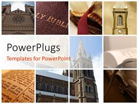 PowerPlugs: PowerPoint template with collage of religious buildings and Holy books