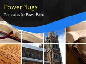 PowerPlugs: PowerPoint template with collage of religious depictions with open religious book and structure