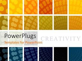 PowerPlugs: PowerPoint template with collage of repeating patterns in varying colors