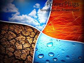 PowerPlugs: PowerPoint template with collage representing the four nature elements, air, fire, earth and water