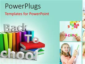 PowerPlugs: PowerPoint template with five tiles with playing school children and some books beside it