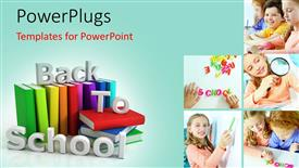 PowerPoint template displaying five tiles with playing school children and some books beside it
