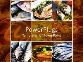 PowerPlugs: PowerPoint template with a collage of sea food