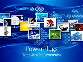 PowerPlugs: PowerPoint template with collage of seemingly unrelated depictions on blue background