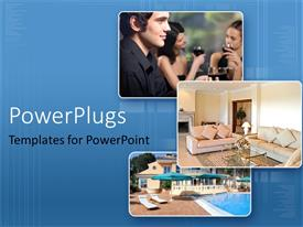 PowerPlugs: PowerPoint template with collage showing affluent lifestyle on blue background