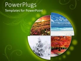 PowerPlugs: PowerPoint template with collage showing the four climatic seasons in green background