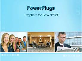 PowerPoint template displaying collage showing group of business people, empty meeting room, and man reading paper