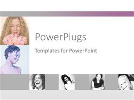 PowerPlugs: PowerPoint template with collage of six depictions of happy women, smiling woman, laughing woman, woman smiling bouquet of pink roses