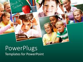 PowerPlugs: PowerPoint template with collage with six depictions related to school and education with pupils, back to school words on green chalkboard, kid reading in an open book, kids with teacher