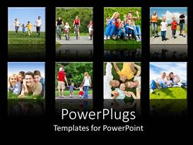 PowerPlugs: PowerPoint template with collage of smiling families doing different activities with black background