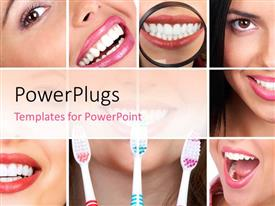 PowerPlugs: PowerPoint template with collage of smiling lady with good dentition and toothbrush for dental care