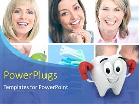 PowerPlugs: PowerPoint template with collage of smiling women with healthy tooth in background and cartoon character as teeth in the foreground