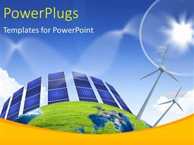 PowerPlugs: PowerPoint template with collage with solar batteries and wind mills as alternative source of energy
