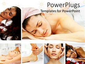 PowerPoint template displaying collage of spa and massage depictions, relaxation