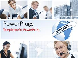 PowerPlugs: PowerPoint template with collage of support agents and office workers with skyscrapers