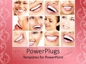 PowerPlugs: PowerPoint template with collage of teeth close ups of beautiful women smiling