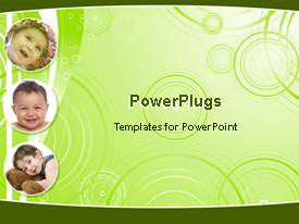 PowerPoint template displaying collage of three animated depictions  of happy babies, baby girl with hat smiling, smiling baby boy, baby with stuffed animal