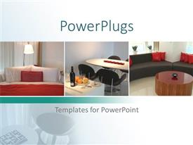 PowerPlugs: PowerPoint template with collage of three depictions of home interior, bedroom, dining room and living room interiors, sofas, coffee table, table with chairs, bed