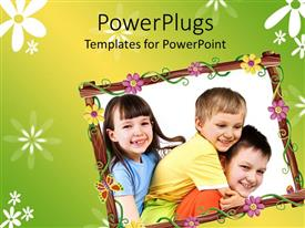 PowerPlugs: PowerPoint template with collage of three little kids with flowered frame on green background