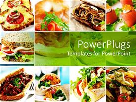 PowerPlugs: PowerPoint template with collage of twelve depictions of various dishes and foods depicting sandwich, sushi, smoked salmon, baguette and pasta