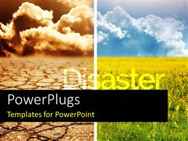 PowerPlugs: PowerPoint template with collage of two environmental contrasting conditions, disaster and flourishing field
