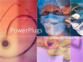 PowerPlugs: PowerPoint template with collage of two surgeons, stethoscope and container of spilled pills