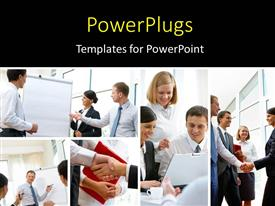 PowerPlugs: PowerPoint template with collage of various business scenarios showing people in discussions
