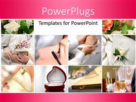 PowerPlugs: PowerPoint template with collage of wedding depictions with flower bouquet and wedding ring