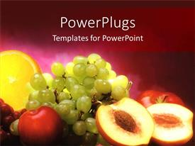 PowerPlugs: PowerPoint template with collection of mixed fruit in an horse blood background