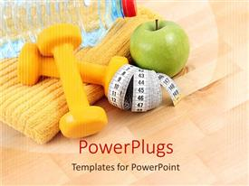 PowerPlugs: PowerPoint template with a collection of apple, measuring tape and fitness related material