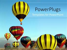PowerPlugs: PowerPoint template with a collection of balloons together with bluish background