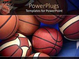 PowerPlugs: PowerPoint template with a collection of basketballs in the picture along with the basket in the background