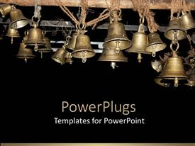 PowerPoint template displaying a collection of beautiful bells hung together for celebration