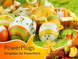 PowerPlugs: PowerPoint template with a collection of beautiful Easter eggs together for celebration
