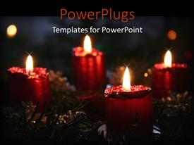 PowerPoint template displaying a collection of beautifully decorated candles burning together with recreational stuff