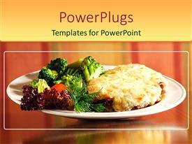 PowerPlugs: PowerPoint template with a collection of beef steak and vegetables together in a plate
